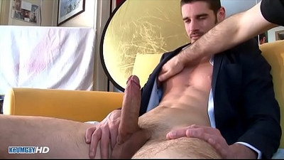straight Salesman in suit trousers gets wanked his huge black monster cock by a guy