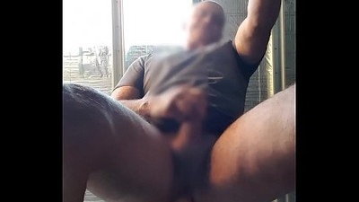 Assturbator bear cums from riding huge dildo