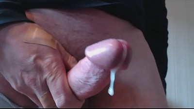 My solo Wanking my hard long black cock and cumming up close