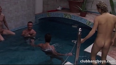 Gay orgy pool with amazingly fit guys