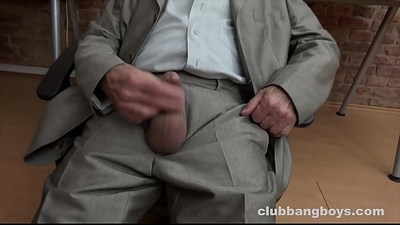 Young boy sucks grandpas little cock and inserts dildo