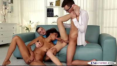 Bi stud anally doggystyled while eating cunt