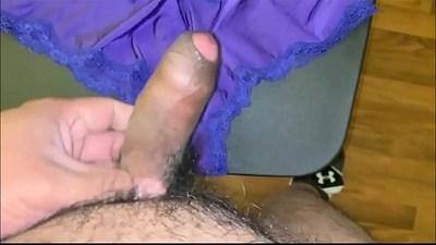 Stroking my dick and cumming on girl next doors panties
